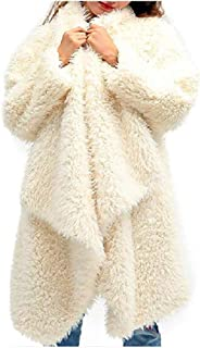 Howely Women's Open Front Fashion Casual Shaggy Lapel Loose Jacket Coat