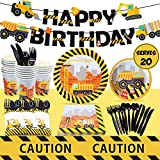 Construction Birthday Party Supplies Set 20 Guest - Including Dump Truck Plates, Tablecloth, Cups, Napkins, Black Flatware and Pre-Assembled Happy Birthday Banner Decorations