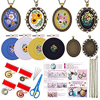 Embroidery Pendant Kit for Beginners Shynek Embroidery Starter Kit with Pattern and Instructions Cross Stitch Kit Including Pendant Trays Embroidery Clothes with Floral Pattern Embroidery Hoops