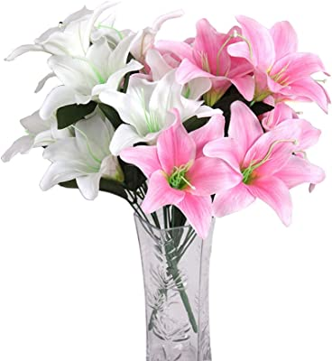 2 Pcs- Scented Lily Bouquet Artificial Flower White