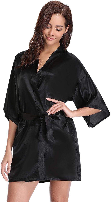 Abollria Damen Morgenmantel Satin Kimono Kurz Robe V Ausschnitt Bademantel mit Gürtel Wellness Junggesellenabschied Schwarz