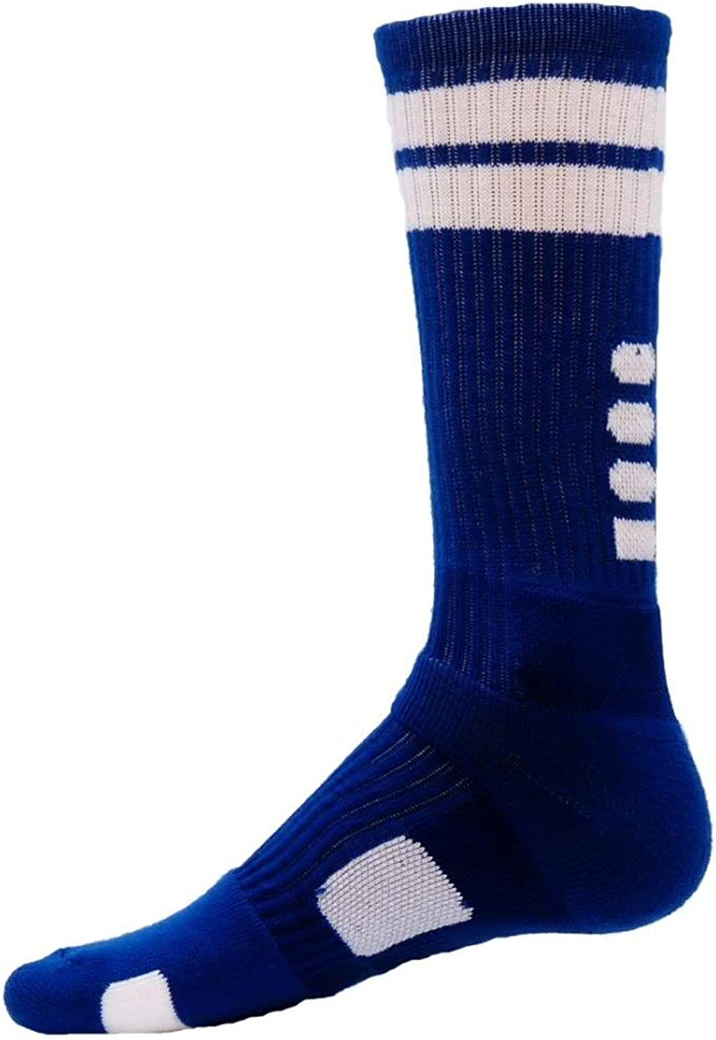 Red Lion Flash Two Striped Athletic Crew Socks (Royal, Large)