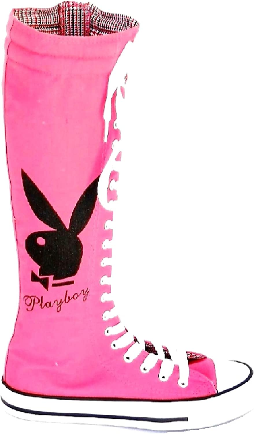 California Style Womens Pink Playboy Punk LACE UP to Knees HIGH Boot Sneakers,Size 6