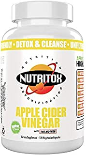 Nutritox Apple Cider Vinegar Supplement. Detox and Weight Loss Support Made with Unflavored Vegetarian Capsules (120 Capsu...