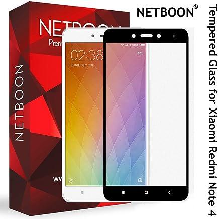 NETBOON Xiaomi Redmi Note 4 Tempered Glass Screen Protector Edge to Edge Coverage Screen Guard Gorilla Glass - Black