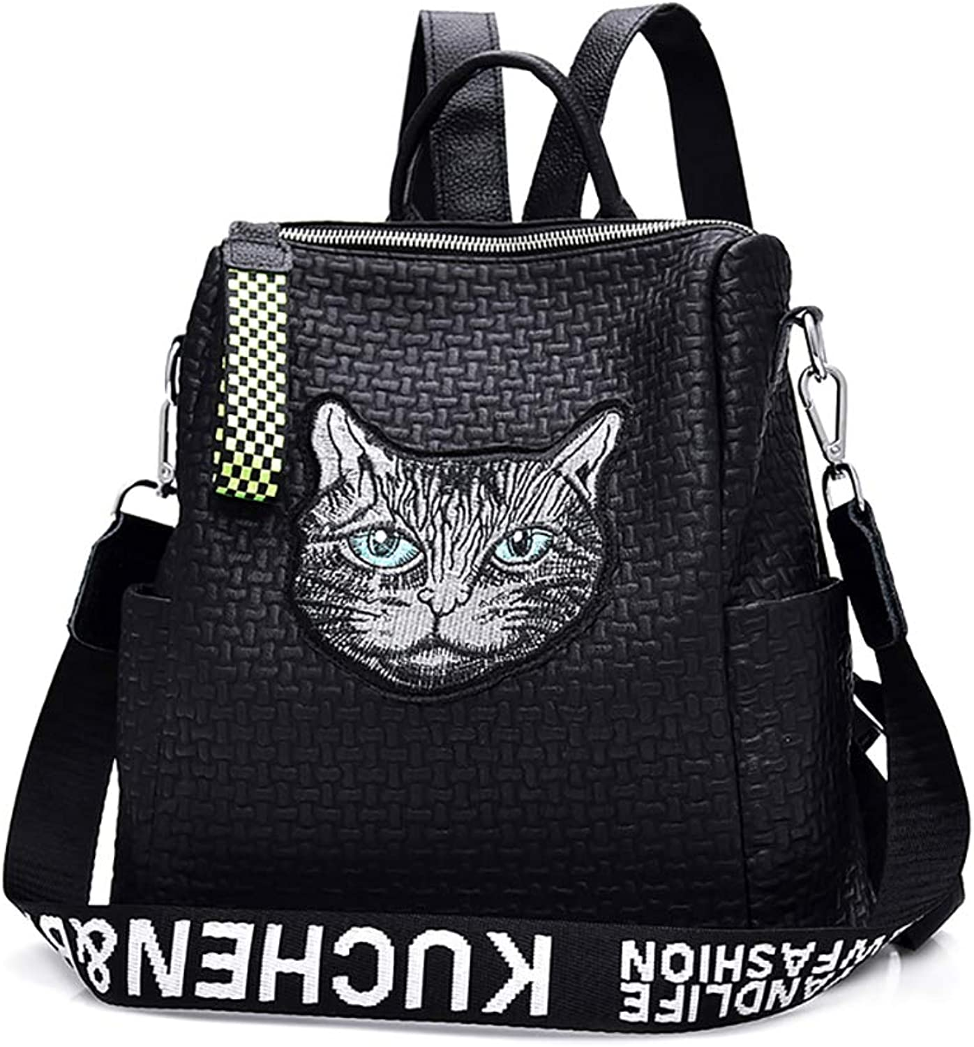 SMILINGGIRL Backpack Female Fashion Waterproof PU College Bag Wild Multi-Function Messenger Bag Embroidery Travel Small Backpack