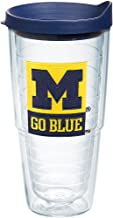 Tervis 1240780 Michigan Wolverines Go Blue Insulated Tumbler with Emblem and Navy Lid, 24oz, Clear