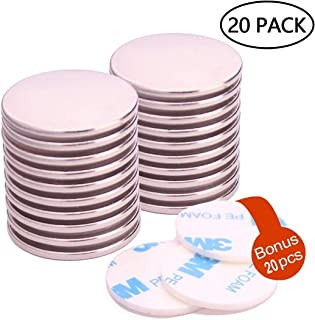 """KYGNE 20Pack Neodymium Disc Magnets, Super Strong Rare Earth Magnets with 20Pack Adhesive Backing, for Fridge, Scientific, Crafts, DIY, Office, 1.26""""D X 0.08""""H"""