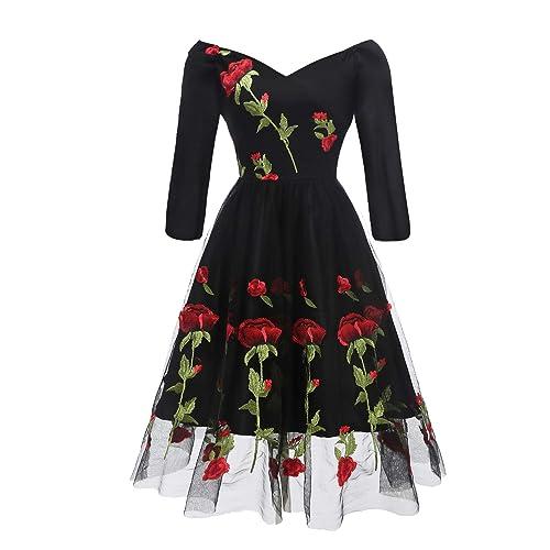 3f1e0d109ac Aofur Womens Ladies Long Sleeve Vintage Lace Party Evening Retro Dress  Black Wedding Christmas Rose Swing