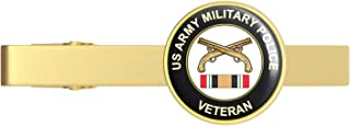 Gold US Army Military Police Iraq Veteran Gold Tie Clip Tie Bar Veteran Gift