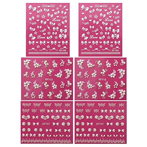 Wrapables Fingernail Art Self-Adhesive Stickers 3D Nail Decals-Bows, Hearts and Flowers (3 Designs/6 Sheets) dekorative Aufkleber, Gold