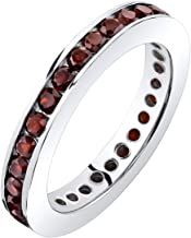 Peora Garnet Eternity Band Ring Sterling Silver 1.00 Carats Sizes 5-9