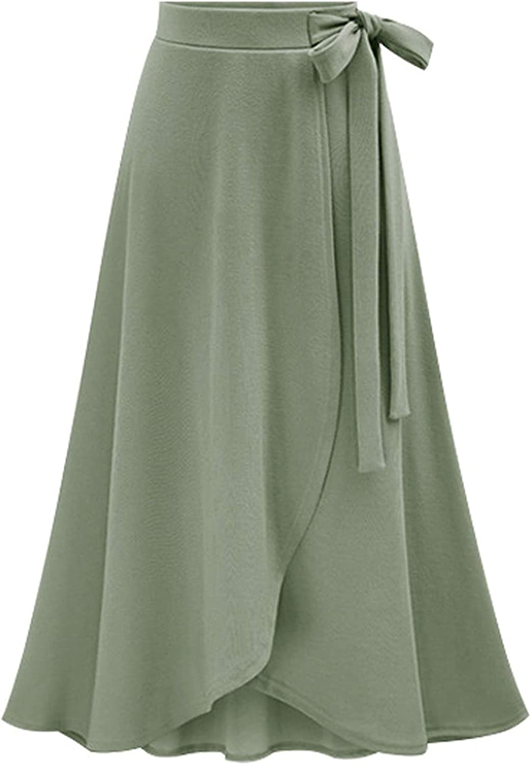 chouyatou Women's Lovely Bow-Knot Waist Stretched Flare Tulip Jersey Long Skirts