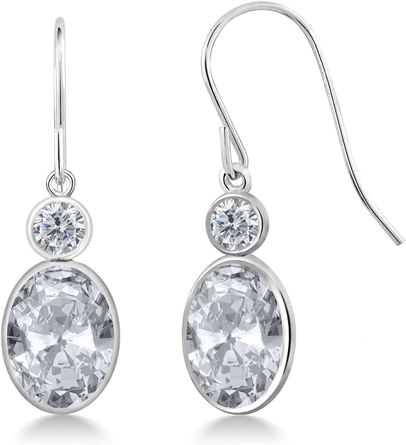2.80 Ct Oval White Topaz G H Diamond 14K White gold Earrings
