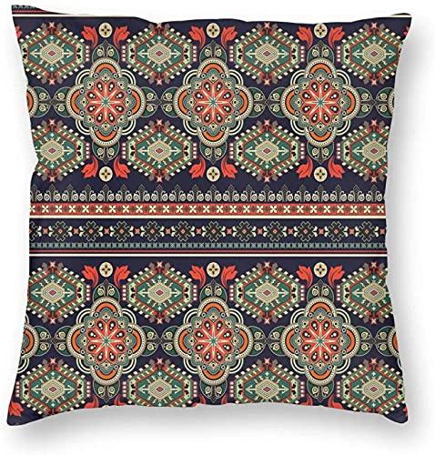 Cuscino Copre, Arabesque Tradizionale Folkloristico Motivo Floreale, Forme Geometriche Immagine, Piazza Divano Cuscino Casi Federe 18 * 18 Pollici