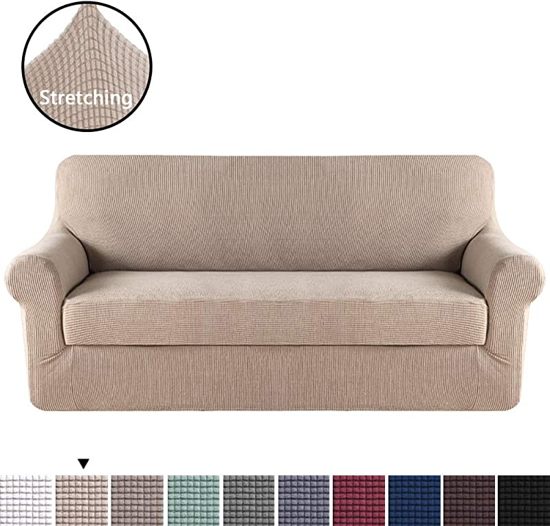 H VERSAILTEX Stretch Slipcovers Sofa Covers Furniture Protector With Elastic Bottom Anti Slip Foams 2 Pieces Couch Shield Polyester Spandex Jacquard Fabric Small Checks XL Sofa Sand