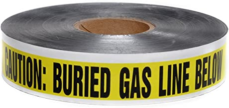 Swanson DETY21005 2-Inch by 1000-Feet 5-MIL Detectable Tape Caution with Buried Gas Line Below Yellow/Black Print
