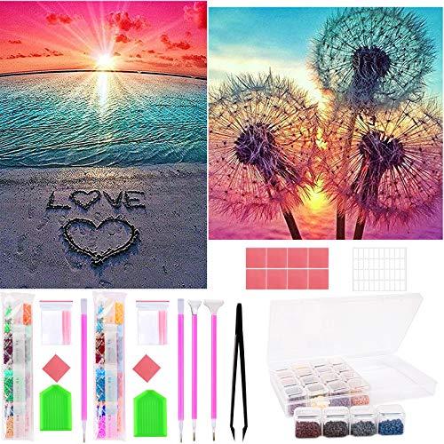 Juego de pintura de diamante 5D, para niños y adultos, diseño de diente de león, punto de cruz, decoración de pared para el hogar