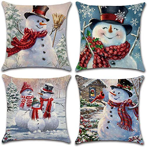 4 pezzi Fodera per cuscino natalizio, Fodera per cuscino decorata in lino, Cuscino con motivo pupazzo di neve invernale, Federe per cuscino con cerniera per divano da letto