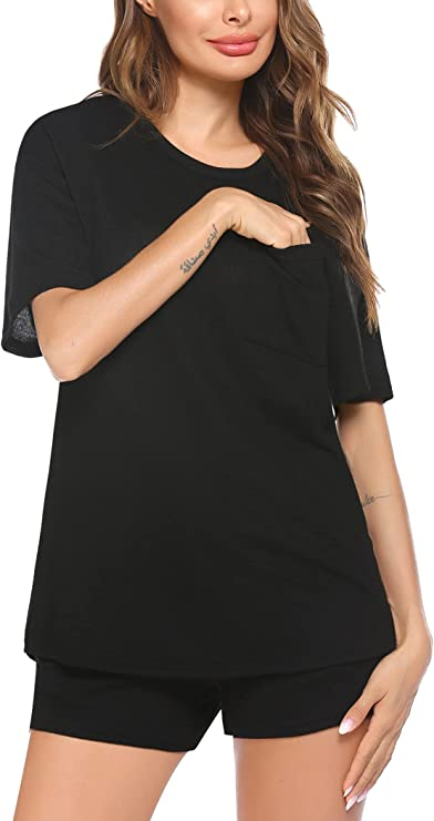 ADOME Women's Shorts Pajama Set Short Sleeve Sleepwear Womens Nightwear Soft Pj Lounge Sets