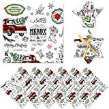 """Whaline Christmas Cloth Napkins 6 Pack Dinner Table Napkins Xmas Tree Red Plaid Truck Placemat Napkins Washable Reusable Polyester Napkins for Home Kitchen Holiday Christmas New Year Party, 17"""" x 17"""""""