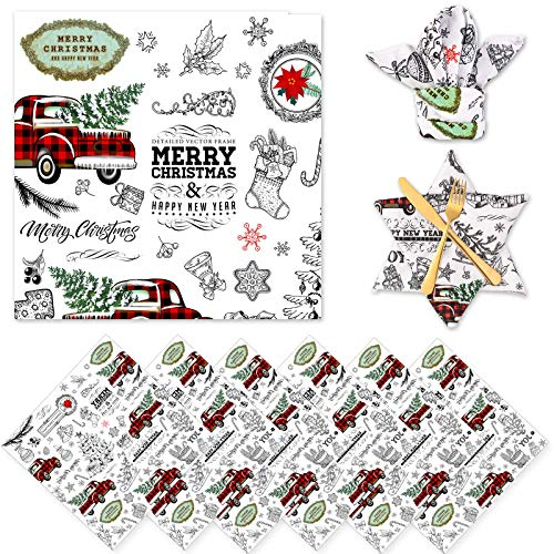 """Whaline Christmas Cloth Napkins 6 Pack Dinner Table Napkins Xmas Tree Red Plaid Truck Placemat Napkins Washable Reusable Polyester Napkins for Home Kitchen Holiday Christmas New Year Party, 18"""" x 18"""""""