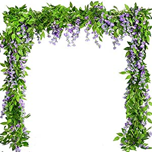 Artificial Plants Flowers 5pcs-31.2ft Fake Flower Wisteria Ivy Vine Faux Plastic Silk Green Leaves Hanging Flowers Vine Garland for Wedding Home Kitchen Office Wall Outside Party Decor