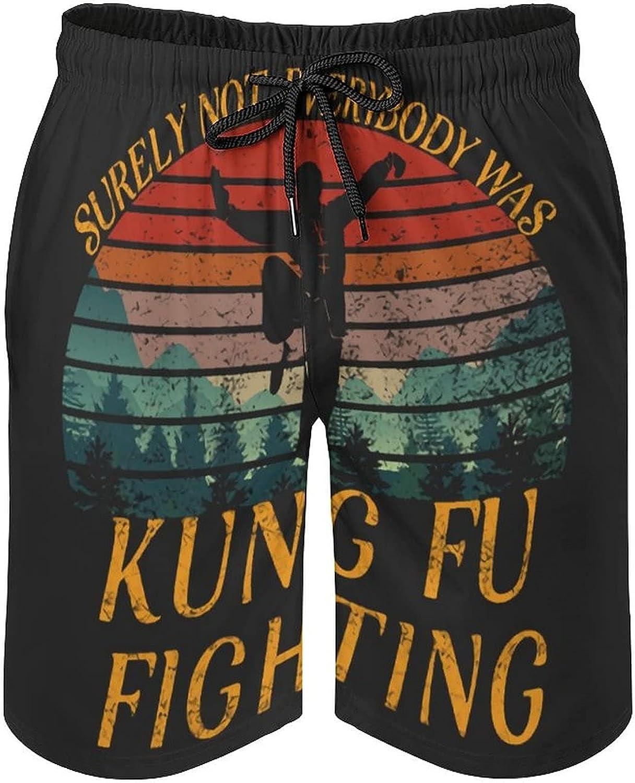 B&MAVIS Kung Fu Fighting Men's Summer Quick Dry Swim Trunks Casual Board Shorts Beachwear for Boys Men