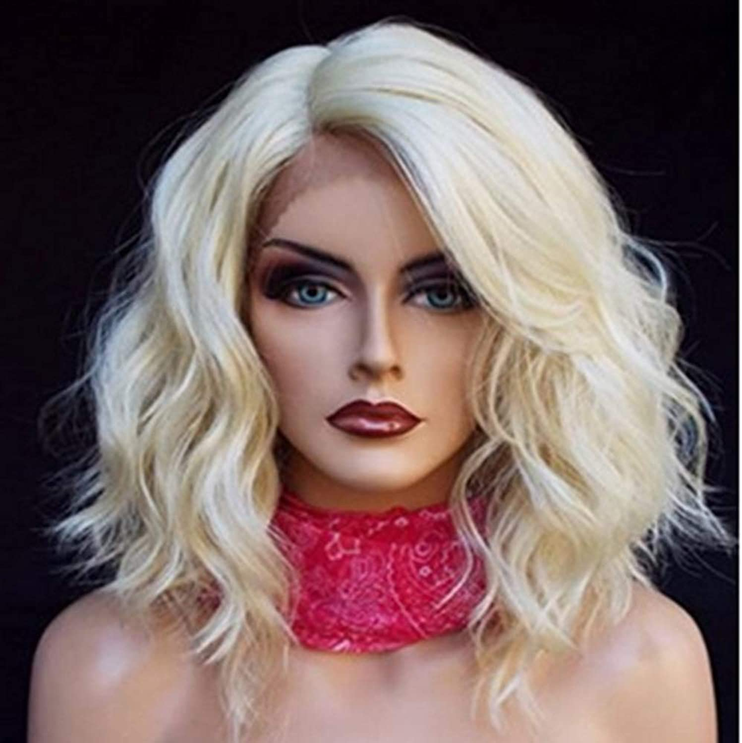 LJ Wig European and American fashion long curly hair chemical fiber front lace beige wig Breathable And Lifelike
