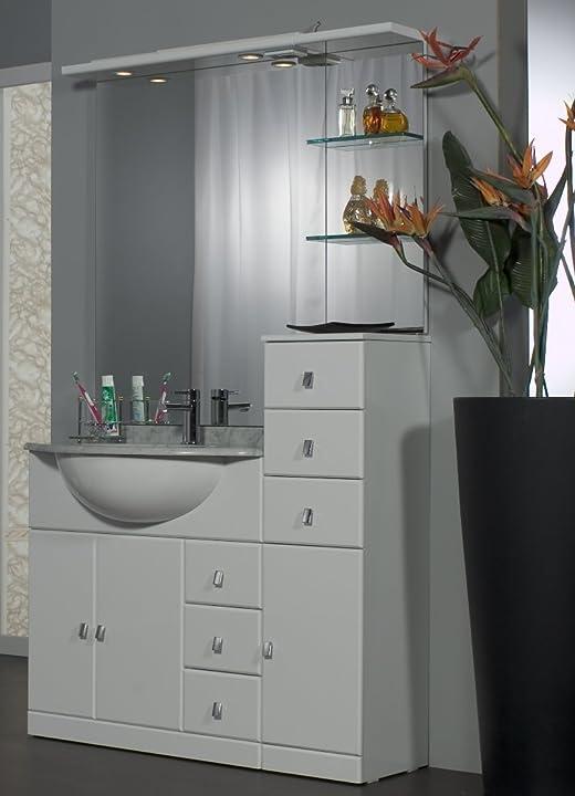 Bagno italia mobile arredo bagno cm 80+30 con lavabo sottopiano bianco Cla13