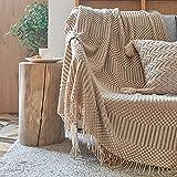 Zoomlie Manta de punto de color puro con flecos borlas de 120 x 170 cm, cálida manta decorativa de lujo, para sofá, cama, chal de oficina (marrón claro, 1)