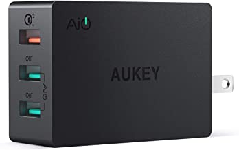 AUKEY Quick Charge 3.0 3-Port USB Wall Charger 43.5W with Foldable Plug, Compatible with Samsung Galaxy S8 / S8+ / Note8, LG G6 / V30, iPhone 11/11 Pro/Max and More
