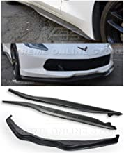 Replacement for 2014-2019 Chevrolet Corvette C7 All Models | Z06 Stage 2 ABS Plastic Primer Black Front Bumper Lower Lip Splitter with Side Skirt Rocker Panels Extension Pair
