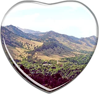 Hqiyaols Souvenir USA America Colorado Chautauqua Park Boulder Refrigerator Magnet Heart-shaped Crystal Fridge Magnet Sticker Travel Gift Collection Souvenir