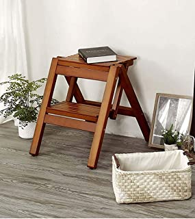 FKB ED Step Stool for Adults Folding Stool Solid Wood Stool Portable Small Bench Outdoor Folding Home Stair Stool Two