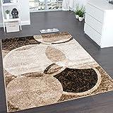 Paco Home Tappeto di Design per Salotto Motivo A Cerchio Marrone Beige Prezzo Eccezionale, Dimensione:80x150 cm