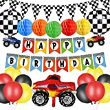 Monster Truck Birthday Party Supplies Happy Birthday Banner Monster Truck Banner Triangle Bunting Flags paper honeycomb Flowers Truck Shape Balloons Multicolor Balloons