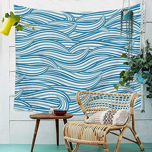 YASHUO Onda de mar Tapiz de Rayas Impresas Tapiz de Pared Tapiz Azul Grande Decoración de Tela Manta Alfombra de Yoga Alfombras Mantas Playa,TT5,El 150x230cm