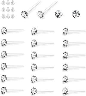 Clear Crystal Hypoallergenic Stud Earrings Set Piercing Jewelry For Women Men 36 Pairs (White)