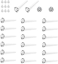 Hanpabum Clear Crystal Hypoallergenic Stud Earrings Set Piercing Jewelry For Women Men 36 Pairs (White)
