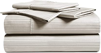 CHATEAU HOME COLLECTION Luxury Combed Cotton 500 Thread Count 4 Piece Sheet Set, Great Deal - Lowest Prices, Queen - Beige