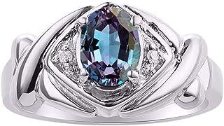 RYLOS XOXO hugs & Kisses Design Ring Oval Gemstone & Genuine Sparkling Diamonds in Sterling Silver .925-7X5MM Color Stone ...
