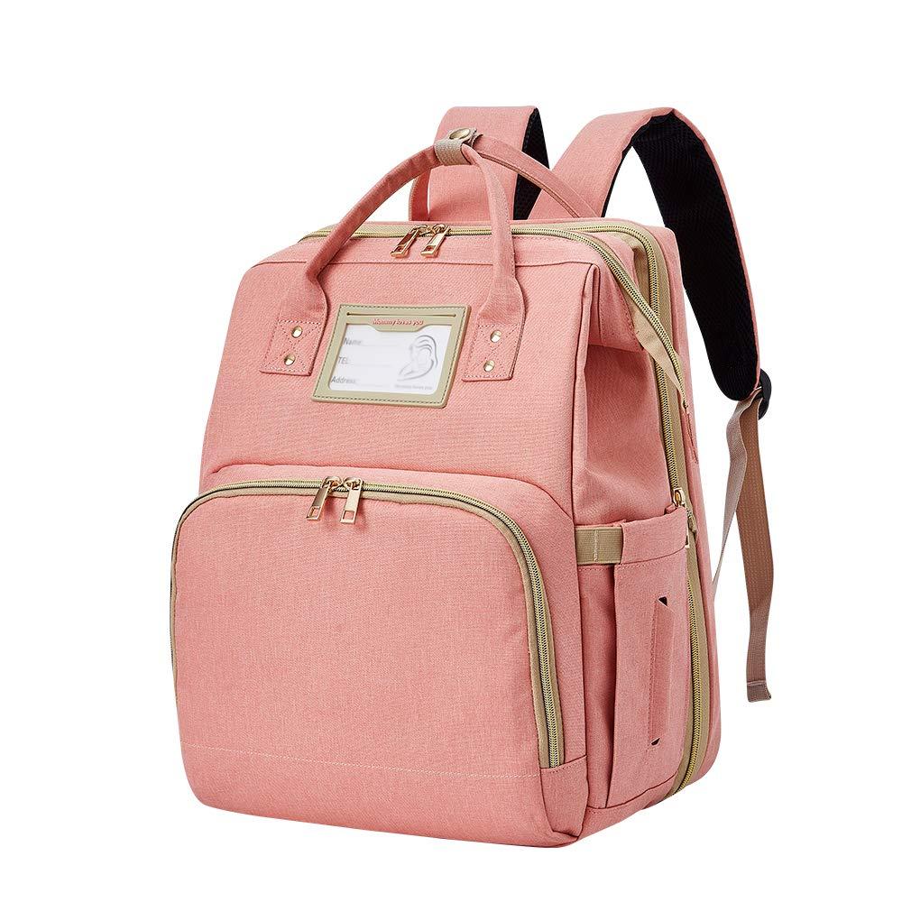 Diaper Bag Backpack Portable Waterproof Charging - Foldable Baby Mother Diaper Bag Ladies Backpack Portable Crib Large Capacity Waterproof with USB Charging Port(Pink)
