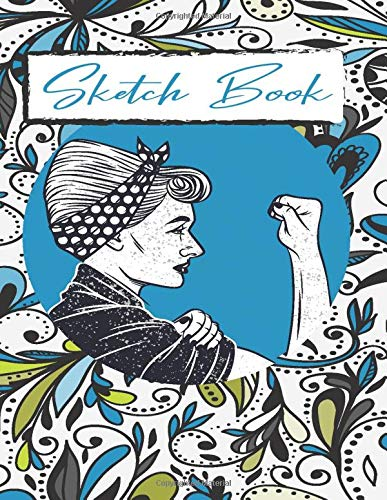 Sketchbook: 8,5' x 11' notebook, with blank paper to draw, create sketches of tattoos, writing, drawing, coloring, scribbling (Premium rebel woman)