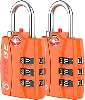 Bright Colors Orange 2 Pack, TSA Approved Luggage Locks, Zinc Alloy Body, Open Alert Red Indicator