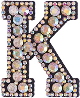 1PC Beaded Rhinestone Patches A-Z Letter Alphabet Crystal Applique Sew On Iron On Diamante Patch Clothing Accessories(K)