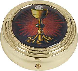 Gold Tone IHS Chalice and Host Communion PYX with Epoxy Lid, 2 1/4 Inch