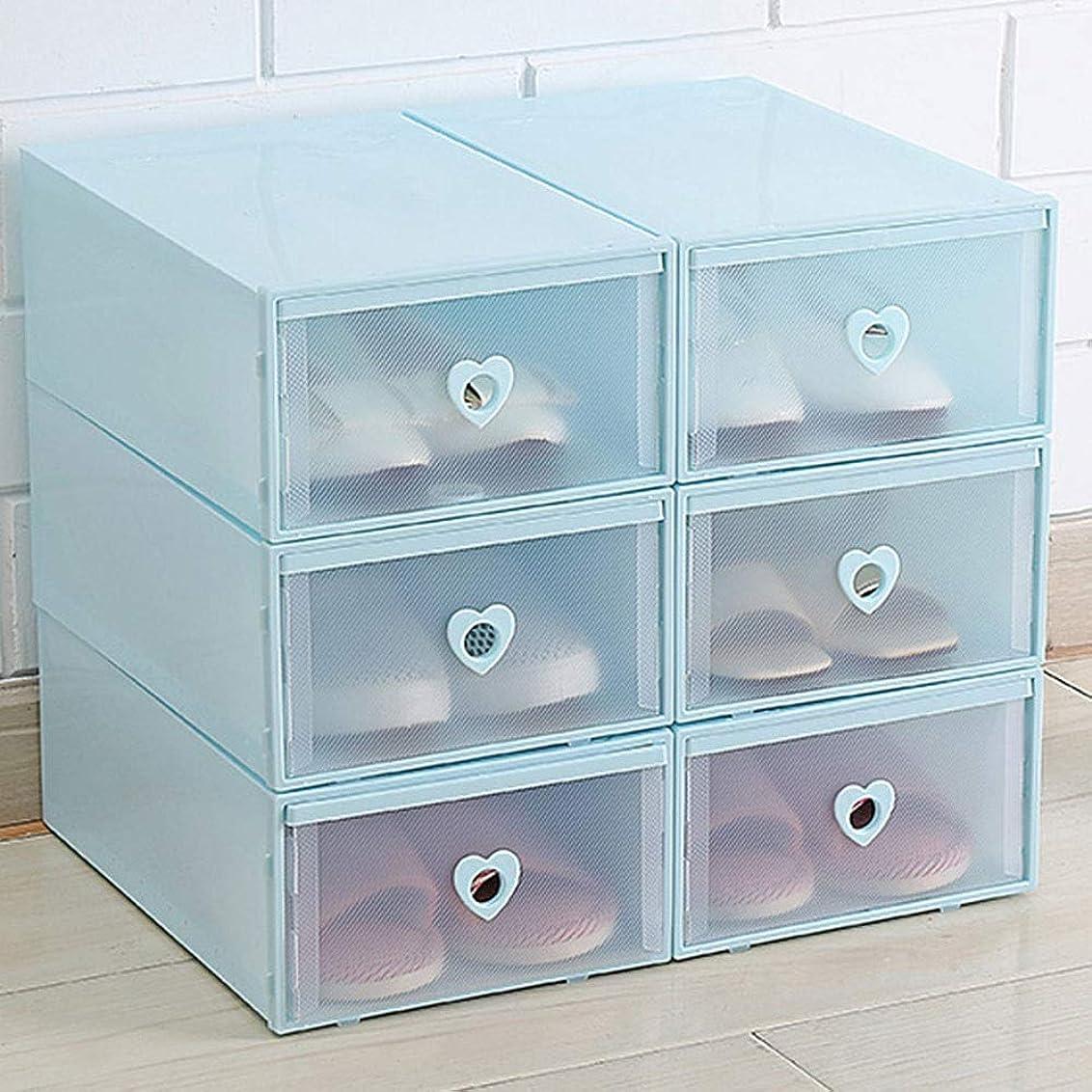 リットル物理的に漏れZR ワードローブ収納ボックス - 透明プラスチック製の積み重ね可能な靴箱、ケースホーム収納容器、オフィス収納袋多色 (色 : 青)