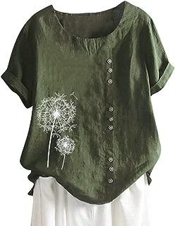 ❀♪ Women's Short Sleeve Cotton Linen Jacquard Blouses Top T-Shirt Linen Retro Chinese Frog Button Tops Blouse Green