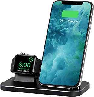 Qi ワイヤレス充電器,急速 2 in 1 アルミ合金充電スタンド,のために適した Apple Watch 4/3/2/1/iPhone Xs/iPhone Xs Max/iPhone XR/iphone 8/ iphone 8 Plus/iPhone X他Qi対応機種 (NX600 S1黒)